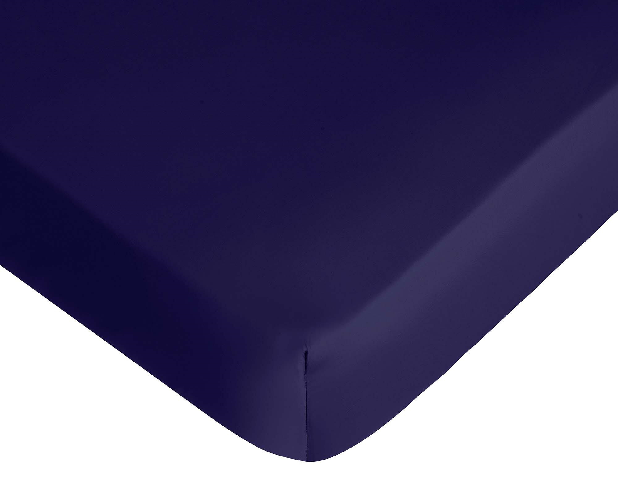 Cearceaf de pat cu elastic Descamps Satin Sublime 160x200cm Albastru Marin poza