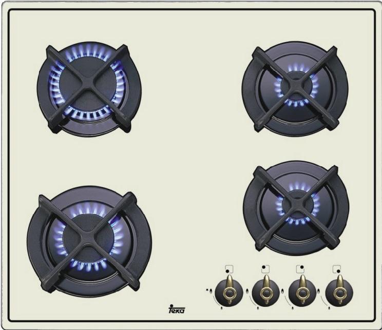 Plita gaz incorporabila Teka ER 60 4G AI AL CI cu 4 arzatoare 60 cm gratare fonta ivoire