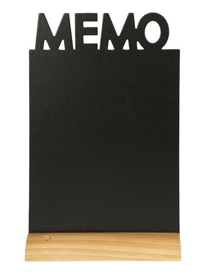 Tabla de scris Securit Silhouette Memo 34 5x21x6cm baza de lemn include marker creta negru imagine