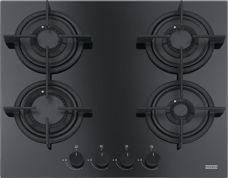 Plita gaz incorporabila Franke Crystal Black FHCR 604 4G HE BK C cu 4 arzatoare 590x510mm gratare fonta poza