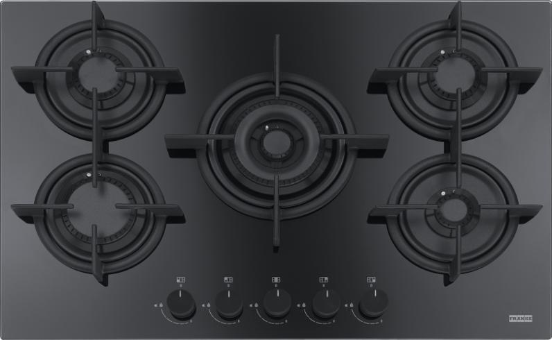 Plita gaz incorporabila Franke Crystal Black FHCR 755 4G TC HE BK C cu 5 arzatoare 720x510mm gratare fonta poza