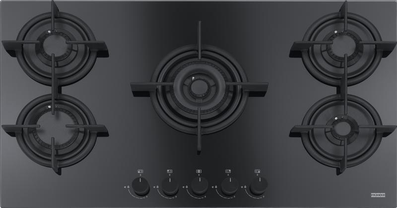 Plita gaz incorporabila Franke Crystal Black FHCR 905 4G TC HE BK C cu 5 arzatoare 880x510mm gratare fonta poza