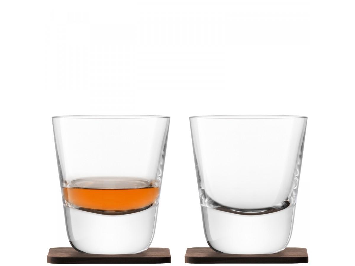 Set 2 pahare LSA International Whisky Arran 250ml cu suport lemn nuc imagine