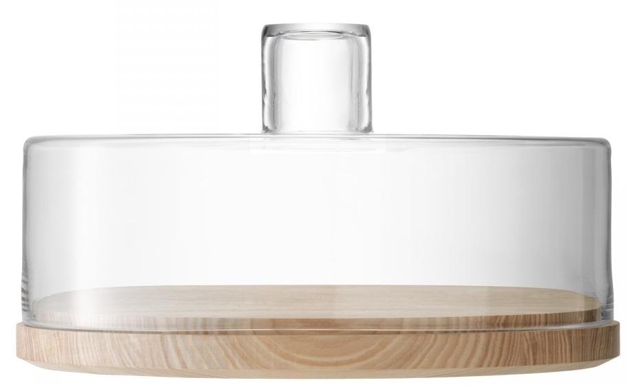 Platou lemn frasin cu capac sticla LSA International Lotta 32cm h20cm poza