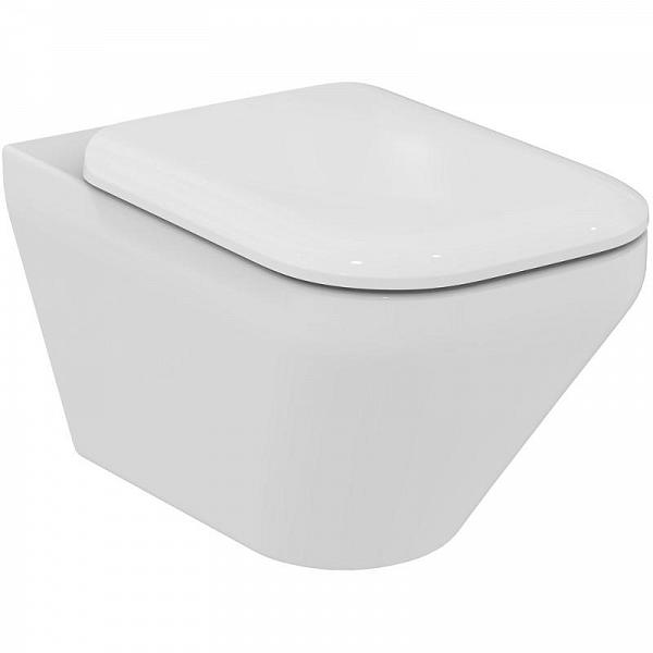 Set vas WC suspendat Ideal Standard Tonic II AquaBlade cu fixare ascunsa cu capac inchidere lenta