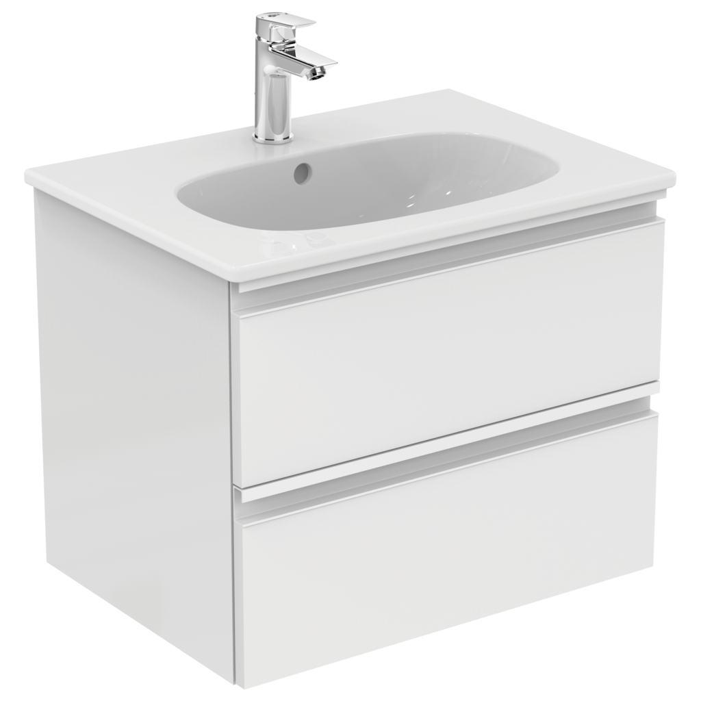 Mobilier baza Ideal Standard Tesi 600 x 490 x 440 mm cu doua sertare alb lucios imagine sensodays.ro