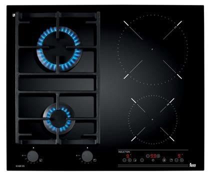 Plita mixta incorporabila Teka IG 620 2G AI AL CI cu 2 arzatoare gaz si 2 zone inductie 60 cm fara rama negru