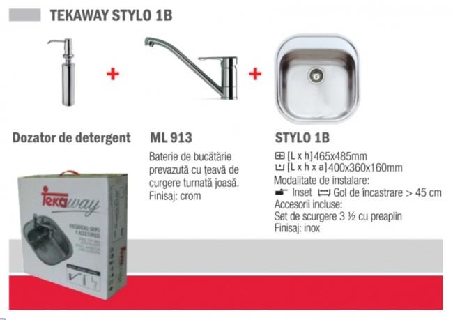 Pachet Teka Tekaway Stylo 1b Chiuveta Stylo 1b Inox Satinat + Baterie Ml/mf2 Dozator Pentru Detergent