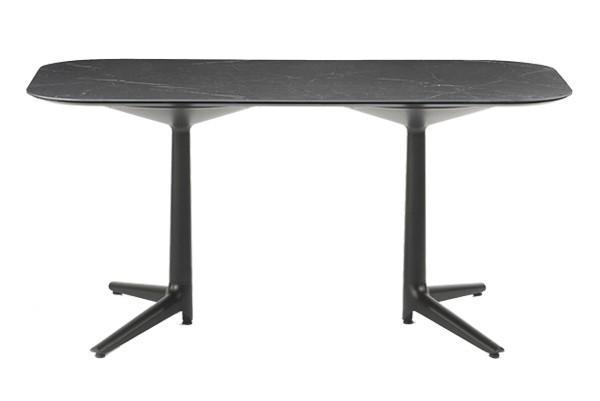 Masa Kartell Multiplo XL design Antonio Citterio 180x90cm h75cm blat cu finisaj marmura negru