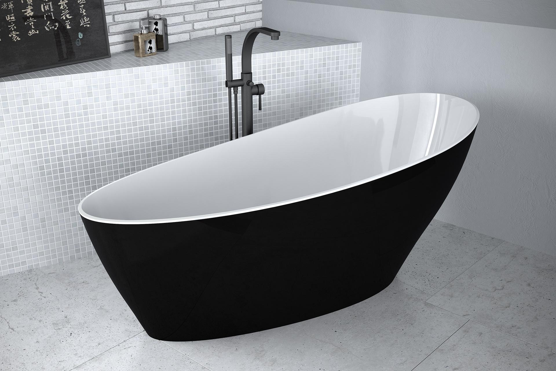Cada free-standing Besco Keya Black & White 165x75cm