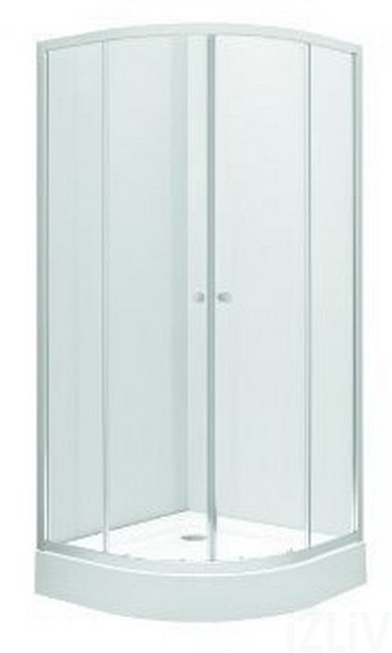 Cabina de dus Kolo First semirotunda 90x90cm sticla transparenta cadita inclusa profil crom lucios