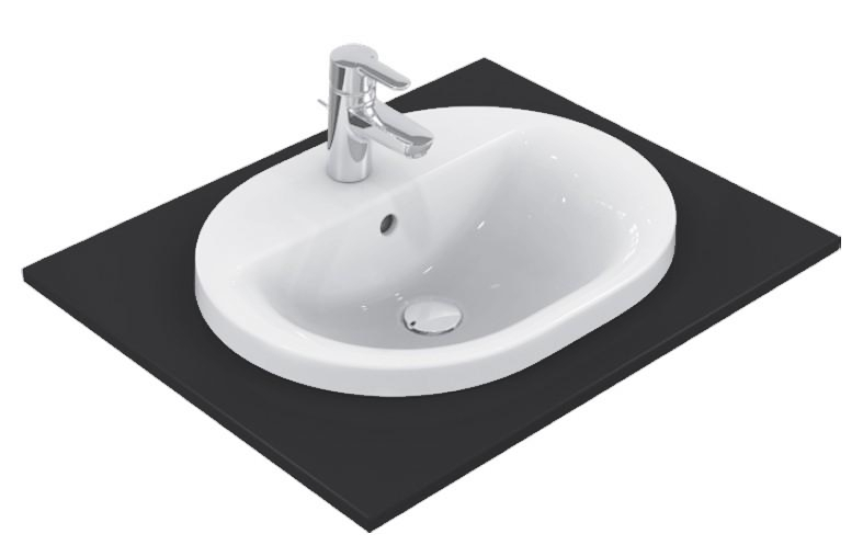 Lavoar Ideal Standard Connect Oval 48x40cm montare in blat imagine sensodays.ro