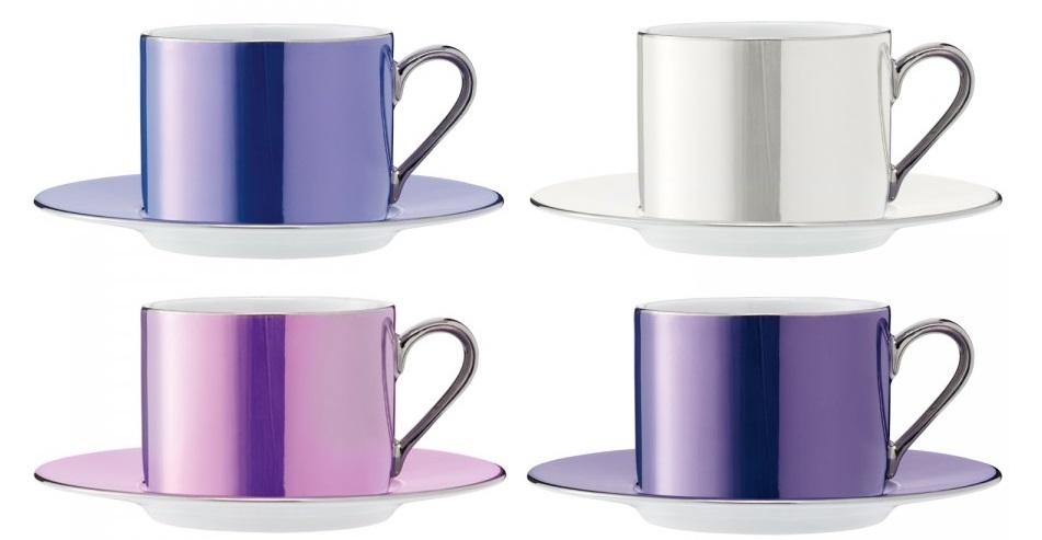 Set 4 cesti si farfuriute ceai LSA International Polka Pastel 0.25 litri