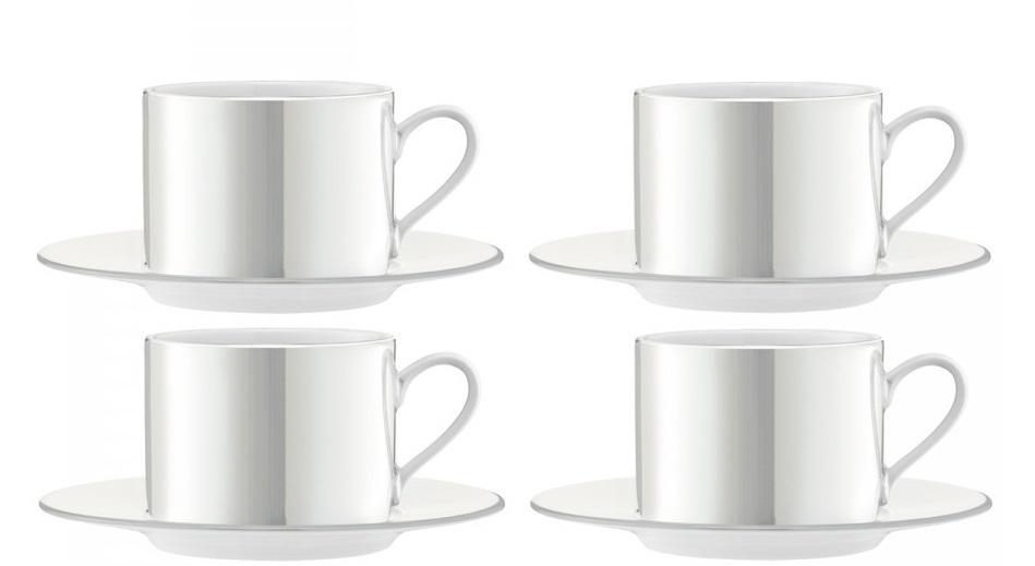 Set 4 cesti si farfuriute ceai LSA International Pearl 0.25 litri poza