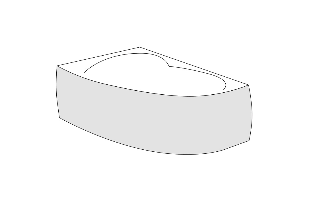 Panou frontal stanga Radaway pentru cada asimetrica Rineia 150cm h56cm