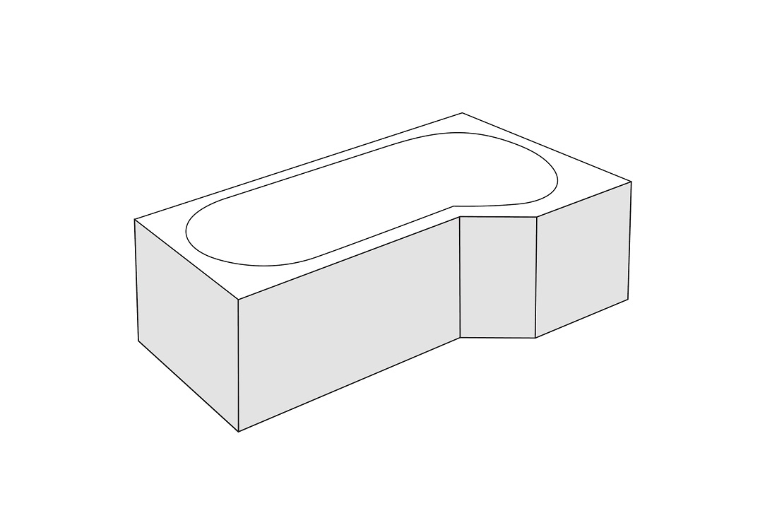 Panou frontal dreapta Radaway pentru cada asimetrica Kariteia 160cm h56cm