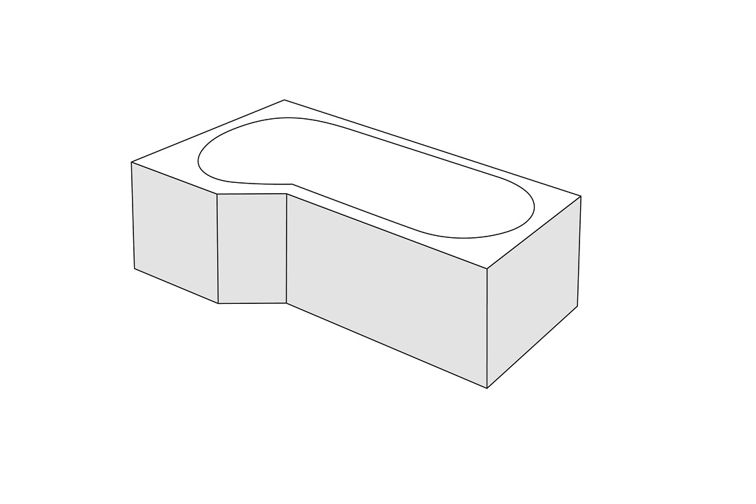 Panou frontal stanga Radaway pentru cada asimetrica Kariteia 160cm h56cm