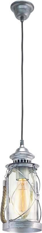 Pendul Eglo Trend Bradford 1x60W h110cm argintiu antichizat poza