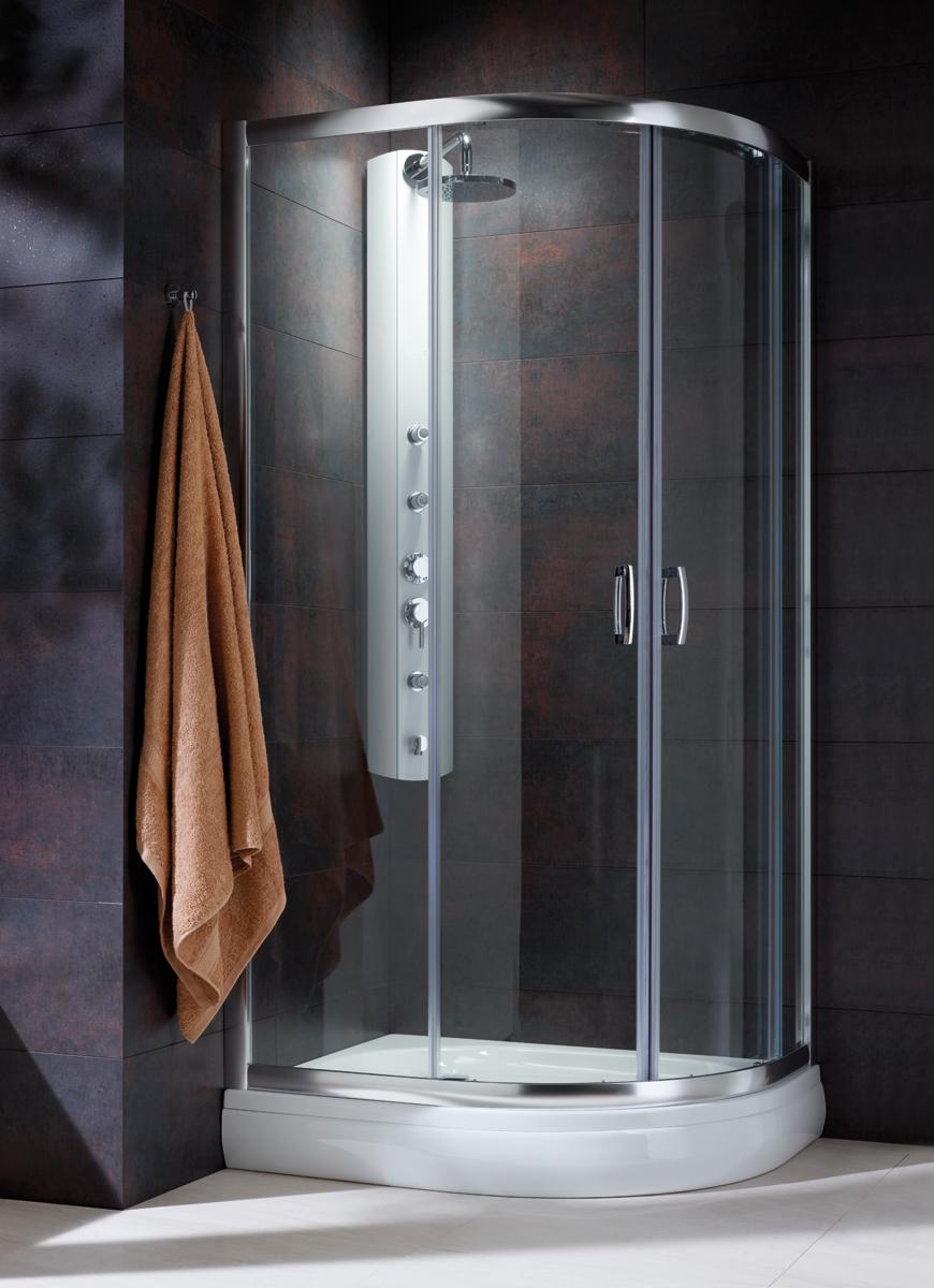 Cabina de dus semirotunda Radaway Premium Plus E 1900 90x80 cm sticla transparenta imagine sensodays.ro