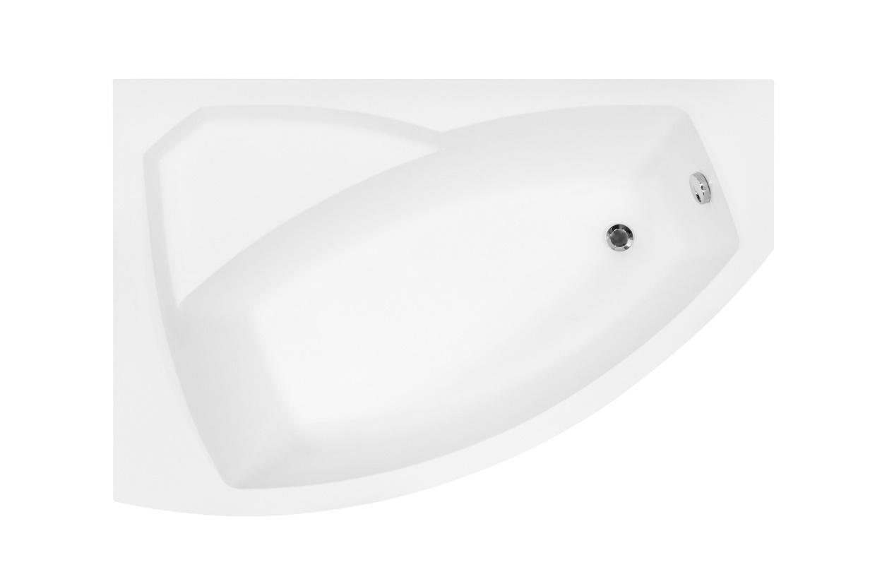 Cada baie asimetrica Besco Rima 130x85cm acril orientare stanga