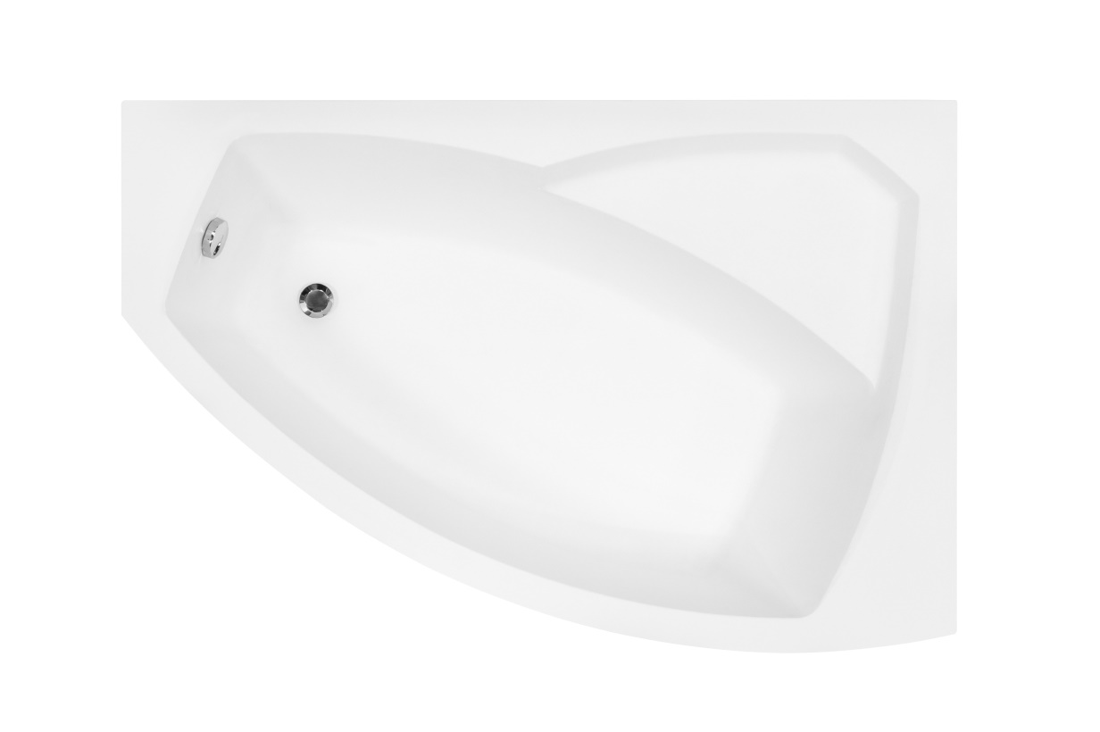Cada baie asimetrica Besco Rima 160x100cm acril orientare dreapta
