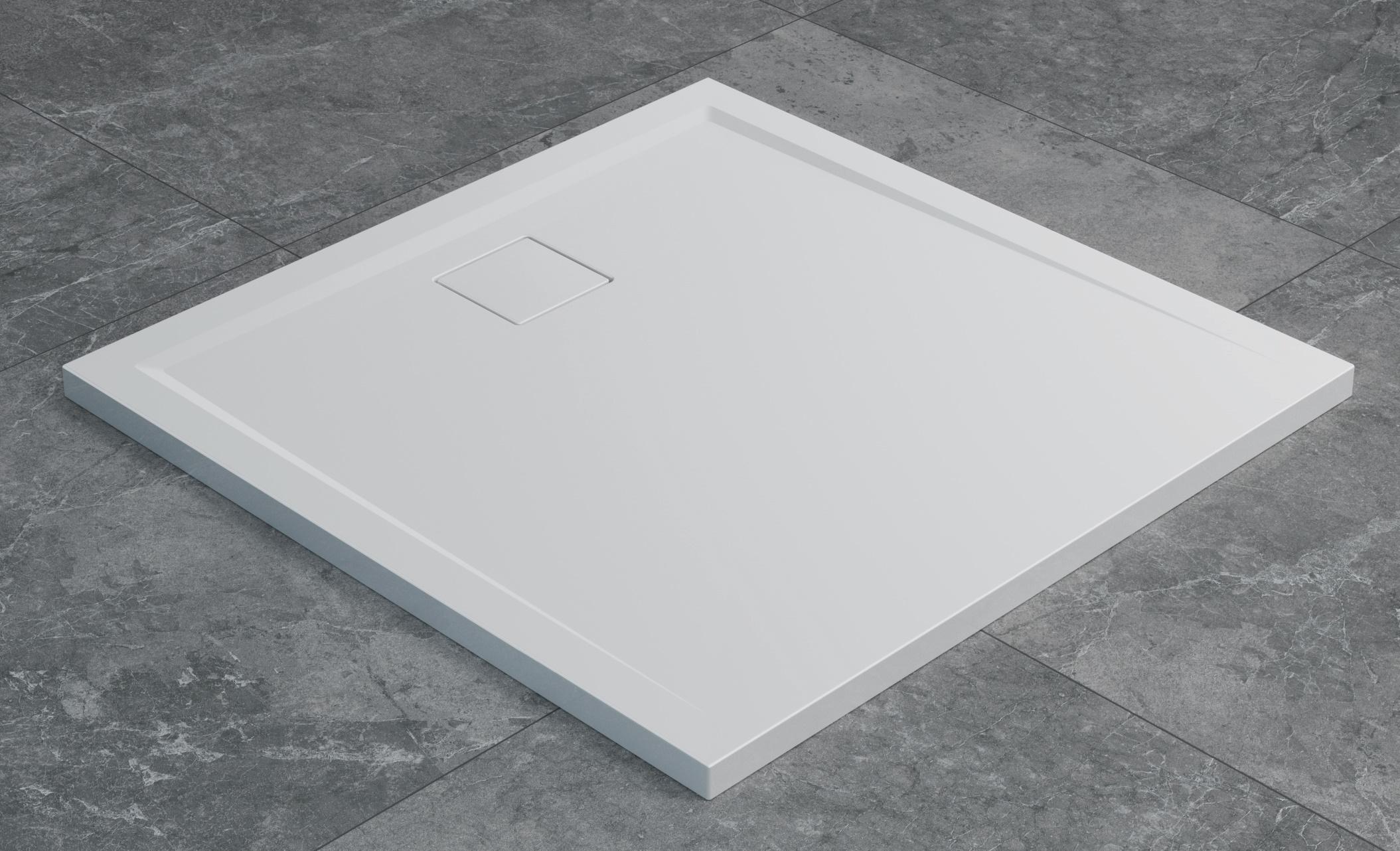 Cadita de dus patrata SanSwiss Livada W20Q 80x80 cm slim marmura sintetica alb poza