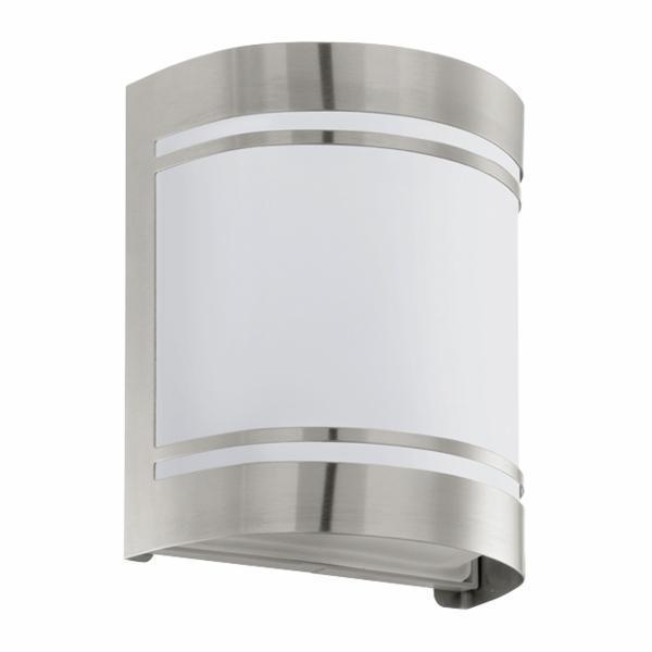 Aplica de exterior Eglo Modern Cerno 1x40W 14x16.5x10.5cm inox-sticla satinata imagine sensodays.ro