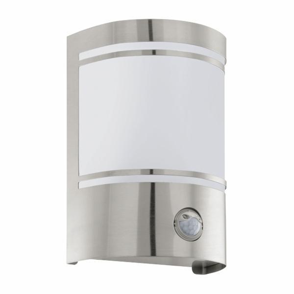 Aplica de exterior Eglo Modern Cerno 1x40W senzor miscare 14x19x11cm inox-sticla satinata imagine