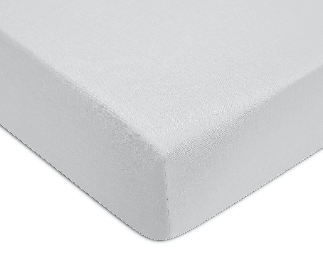 Cearceaf de pat cu elastic Descamps Unis Satin Bleu-Gri imagine
