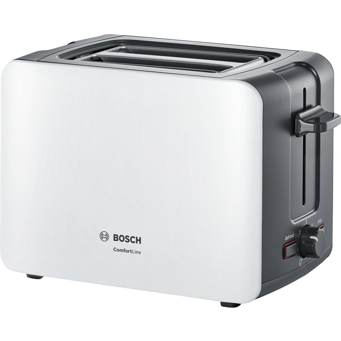 Prajitor de paine Bosch TAT6A111 ComfortLine compact suport chifle sertar firimituri alb-gri inchis