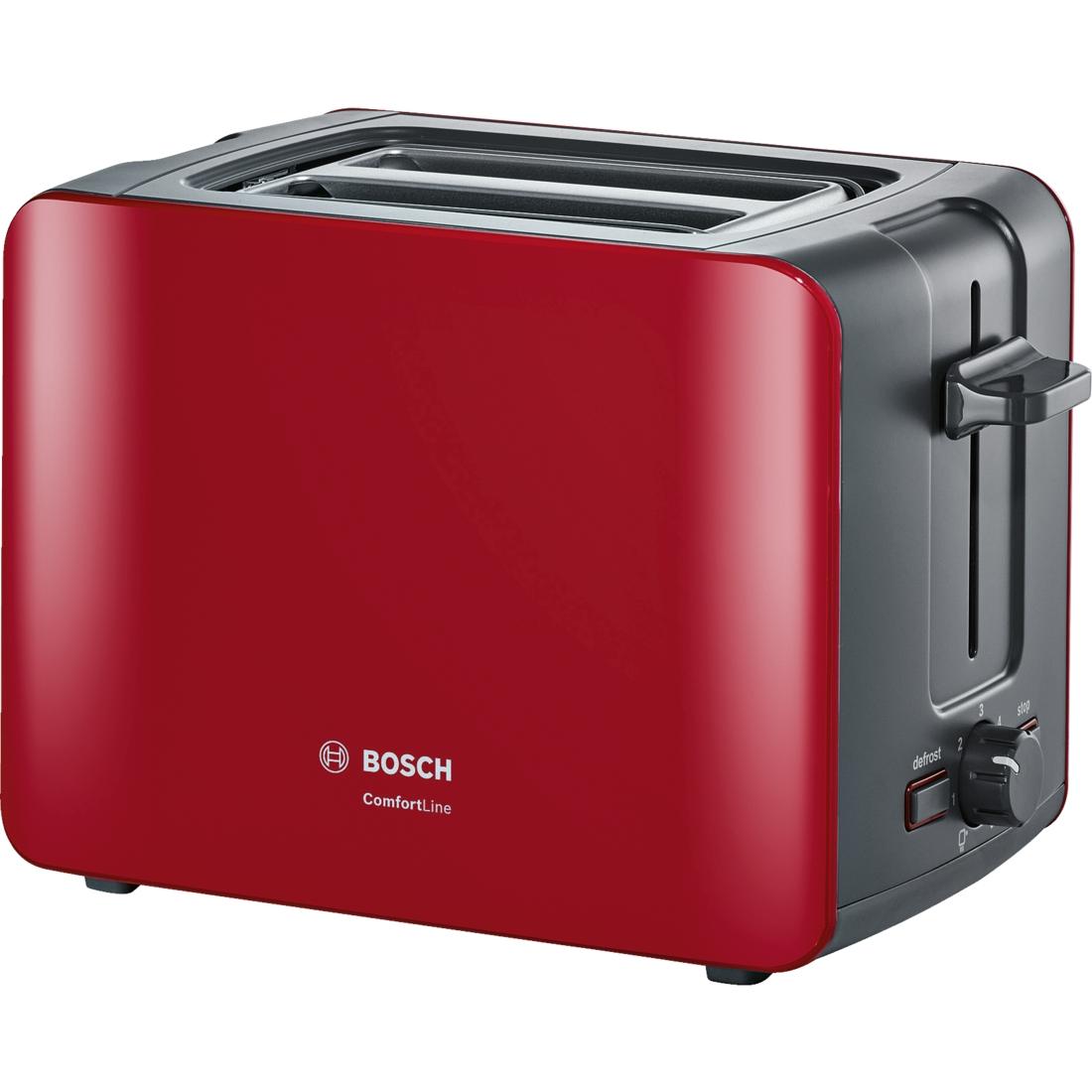 Prajitor de paine Bosch TAT6A114 ComfortLine compact suport chifle sertar firimituri rosu-antracit