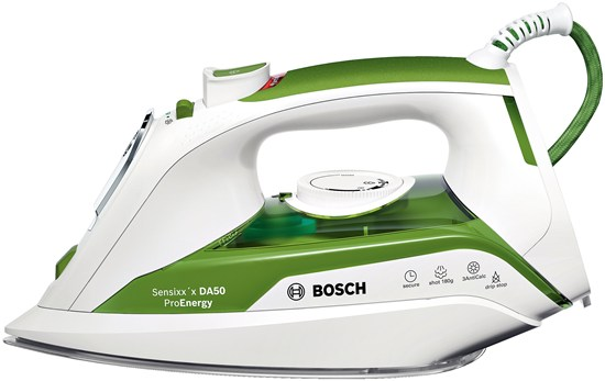 Fier de calcat Bosch TDA502412E Sensixxx DA50 ProEnergy 3AntiCalc 2400W talpa CeraniumGlissee alb / verde