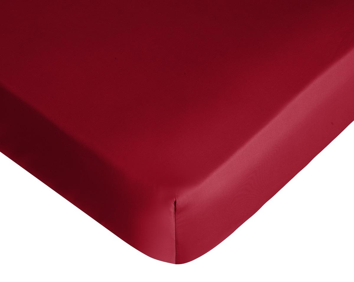 Cearceaf de pat cu elastic Tommy Hilfiger Unis Satin 160x200cm Bordeaux poza