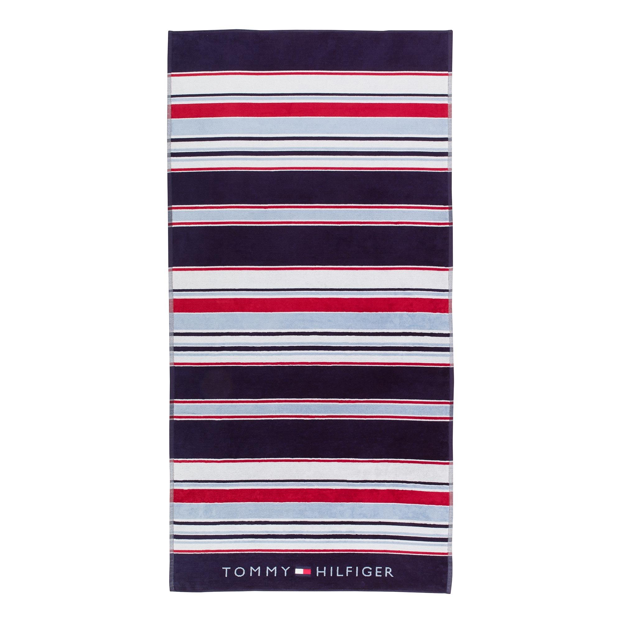 Prosop de plaja Tommy Hilfiger Iconic Stripes 90x180cm Albastru Navy poza
