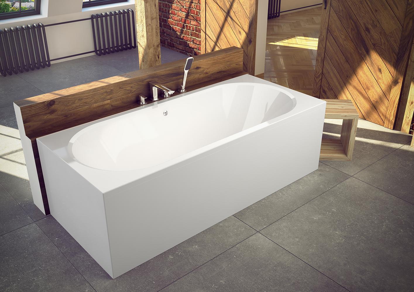 Cada baie rectangulara Besco Vitae 160x75cm acril