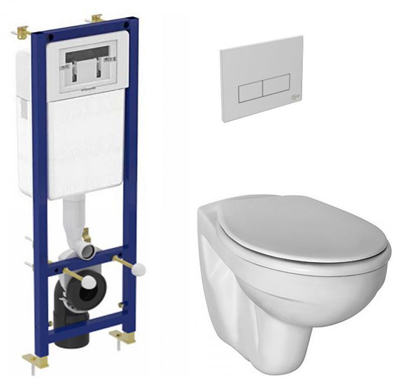 Set vas WC suspendat Ideal Standard Simplicity cu capac rezervor incastrat si clapeta crom poza