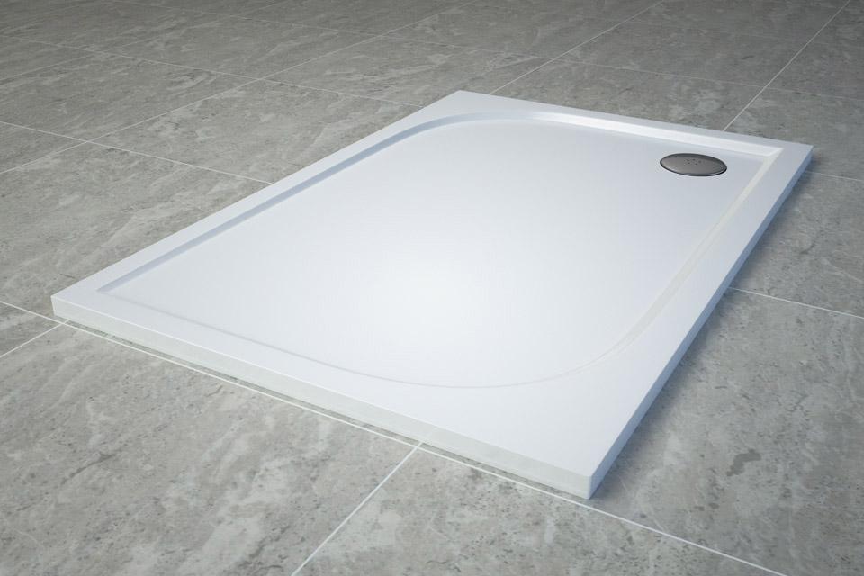 Cadita de dus dreptunghiulara SanSwiss Tracy WAA 90x120cm slim marmura sintetica alb imagine sensodays.ro