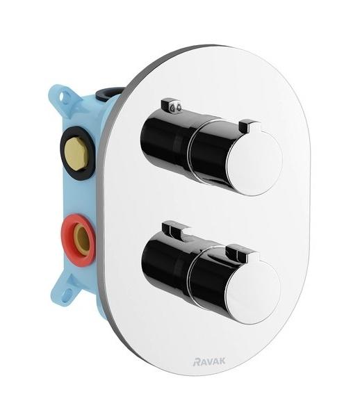 Baterie cada termostatata Ravak Concept Chrome CR 067.00 cu montaj incastrat necesita corp ingropat R-box multi poza