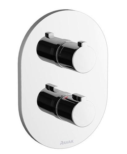 Baterie dus termostatata Ravak Concept Chrome CR 064.00 cu montaj incastrat corp ingropat inclus poza