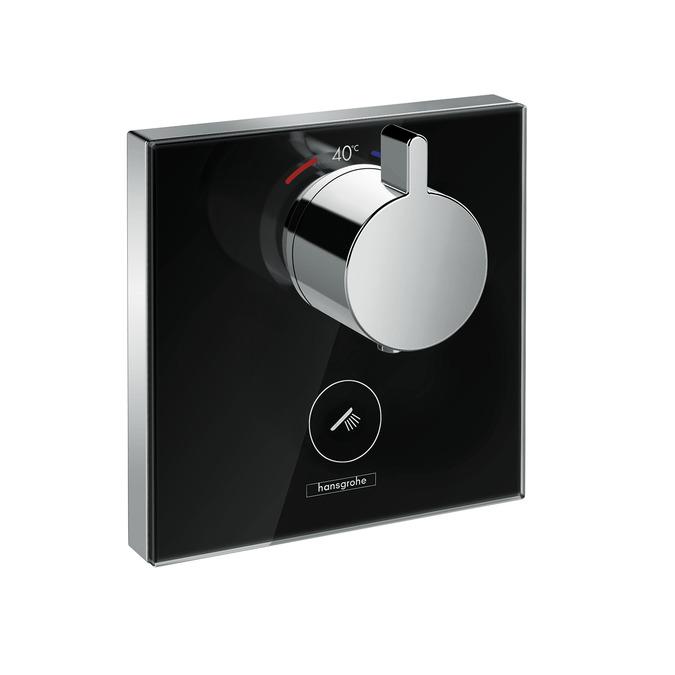 Baterie dus termostatata Hansgrohe ShowerSelect negru-crom cu montaj incastrat necesita corp ingropat imagine