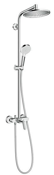 Showerpipe Hansgrohe Crometta S240 1 jet crom cu baterie dus inclusa imagine