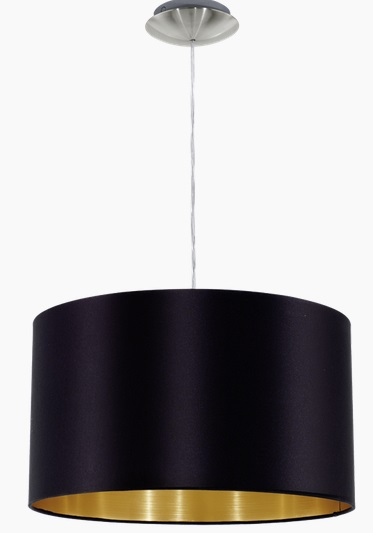 Pendul Eglo Maserlo 1x60W d 38cm colectia Textile Nichel Black Gold