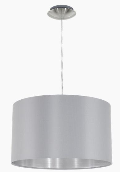 Pendul Eglo Maserlo 1x60W d 38cm colectia Textile Nichel Grey Silver