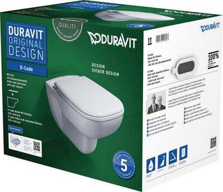 Set vas WC suspendat Duravit D-Code Rimless si capac inchidere lenta imagine