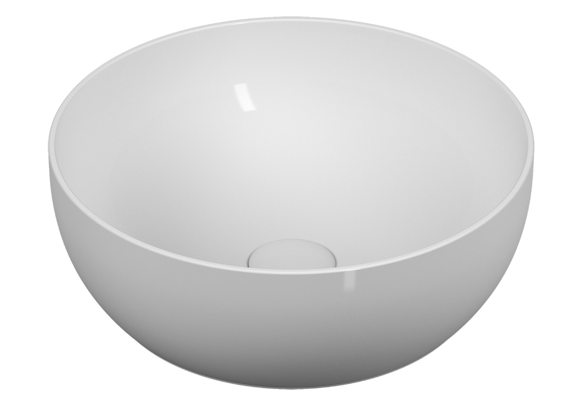 Lavoar tip bol Vitra Outline Round VitrAclean 40cm fara orificiu baterie fara preaplin ventil ceramic alb imagine