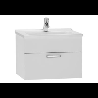 Set mobilier Vitra S50 dulap baza cu 1 sertar alb lucios sifon si lavoar 60cm imagine