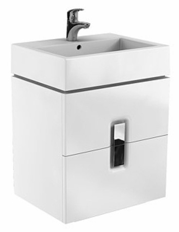 Dulap baza Kolo Twins cu 2 sertare cu inchidere lenta 60cm culoare alb lucios imagine