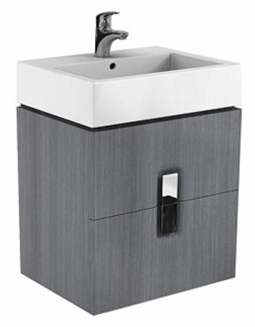 Dulap baza Kolo Twins cu 2 sertare cu inchidere lenta 60cm culoare gri argintiu imagine
