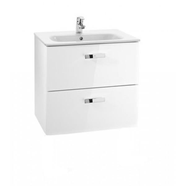 Set mobilier Roca Victoria Basic dulap baza cu 2 sertare 60x45cm alb si lavoar imagine