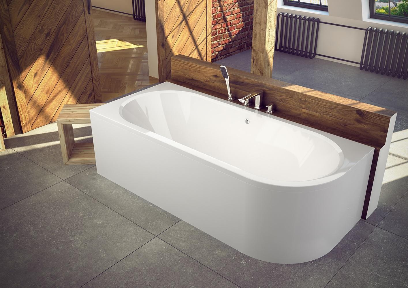 Cada baie asimetrica Besco Avita 170x75cm acril orientare stanga imagine